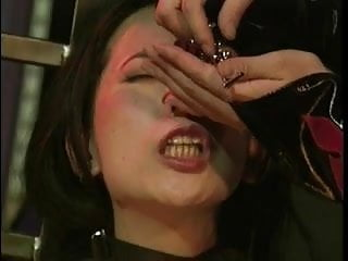 Asian slut bound clamped and pussy teased