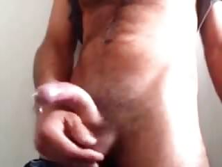 Handsfree cumshot fat curved cock...