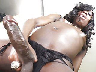Black trans girl jerking her monster cock...
