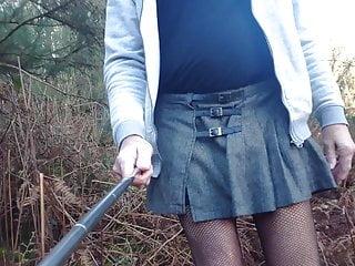 crossdresser walking through the forest HD Sex Videos