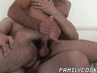 Mature daddy barely fits his fat cock into stepsons ass