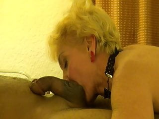 Blonde granny seducing black man...