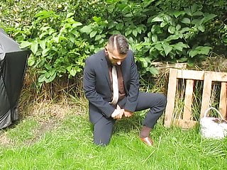 peeing in a suit