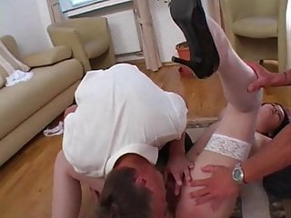 Two men fuck hairy girl and lick her...