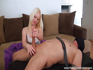 femdom during girlfriends handjob Cheating compares cock