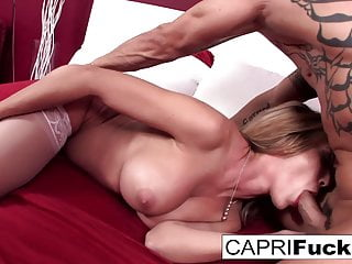 Capri fucks until he cums inside her tight twat