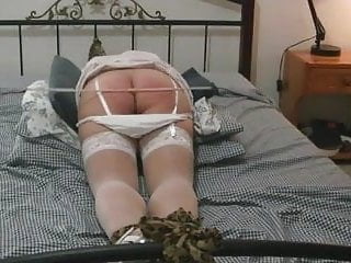 Girlfriend Caned while tied to bed