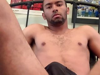hot black man plays with his ass and shoots his load