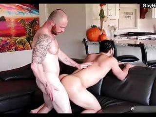 Tattooed hunk sucking cock and gets anal bareback