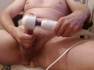 Daddy masturbating and cumming with a vibrator & dildo combo