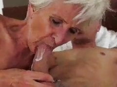 Gray haired granny gets cum in her mouth.