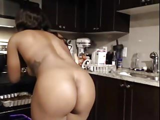 Nude african girl in the kitchen...