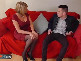 Blonde granny is fucked by horny man...