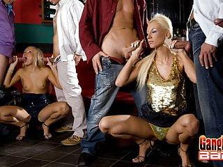 Hot oral sex gangbang at the pub...