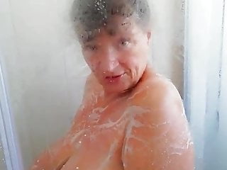 Busty Gilf Teasing Younger Black Boy to Join her Shower