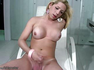 And perfect breasts make this shegirl cumshot fast...