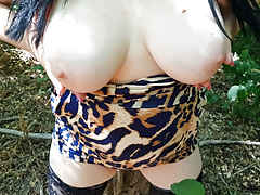 19 year old bitch showed her tits in the park