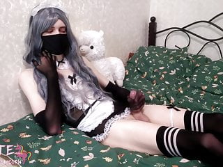 Maid sissy cumshot without hands and ruin orgasm