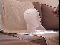 Headshot cumming on object stone head big load