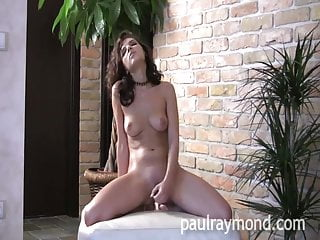 Hot Brunette Henessy rams dildo and cums hard