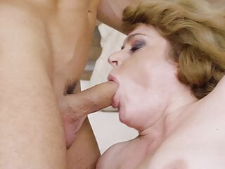 Hairy mature gets young cock in all holes