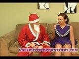 Christmas Ballbusting with Latina Teen and Santa Claus