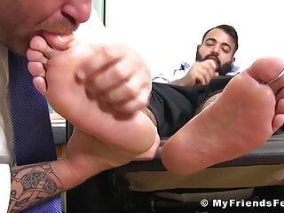 Bearded Latino Carlos jerks off during feet licking fetish