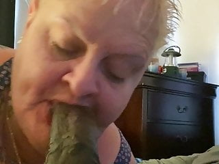 Granny deepthroat, gumjob and facial with 9 inch Black cock