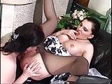 Final lesbian fling for a pantyhosed Bride