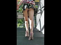 Upskirt Long Legged Blonde with Boyfriend