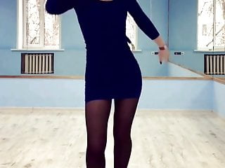18 Years Old Russian Teen Dancing with blue tight dress