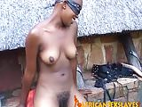 Bald african bondage slave getting her pussy fucked