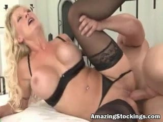 Hot blonde MILF in black stockings sex