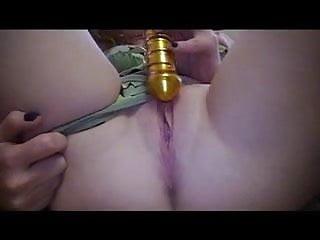 glass dildo in pussy
