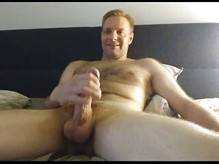 Horny Daddy Wanks his Big Cock in bed and Cums