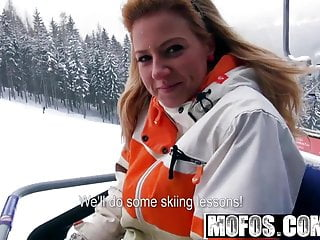Flashing double ds while she skis...