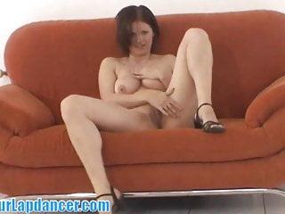 Girl rubs her clit after striptease...