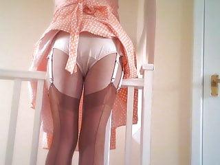 Retro Satin Panties And Tan Nylon Stockings