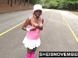 Ebony Nudist Loves Flashing Big Tits & Round Butt In Public