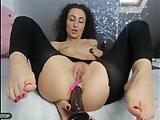 Deep anal dildo and feet