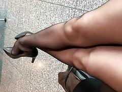 Air Hostess Ebony Pantyhose Feet In Galley
