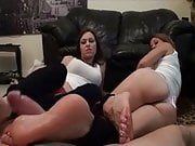 Mother daughter's friend Footjob
