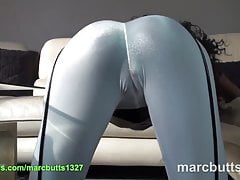 Ebony ass in white see-through leggings and cameltoe
