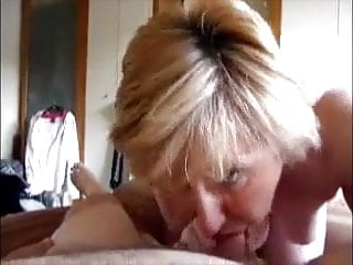 Mature wife sucking dick and get cum in face