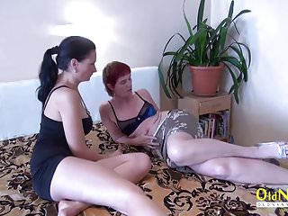 Oldnanny granny lesbian and teen strapon fucking...