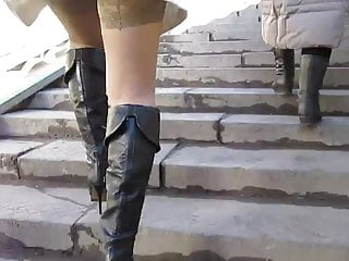 Black leather boots and tan stockings upskirt