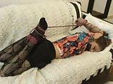 brunette girl tied