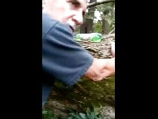 Fag Iowa grandpa takes it bareback in the woods