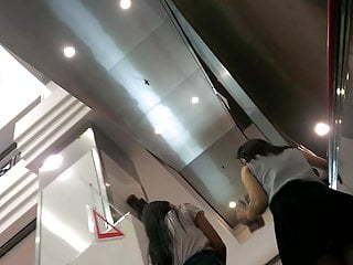 Ep.1 two teens busy chatting on the escalator upskirt