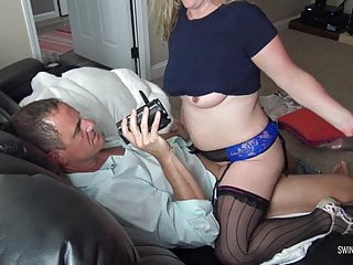 Busty blonde housewife sucking...